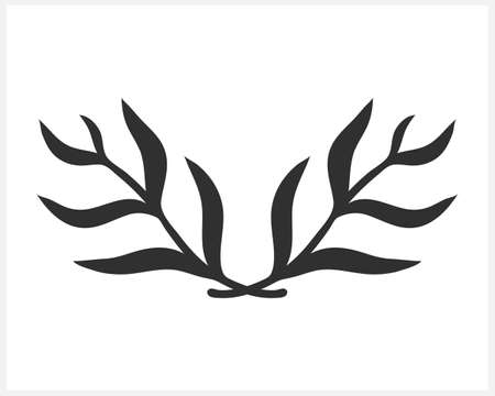 Doodle wreath icon isolated. Branch with leaf. Frame, border for design. Hand drawn art line. Vector stock illustration.