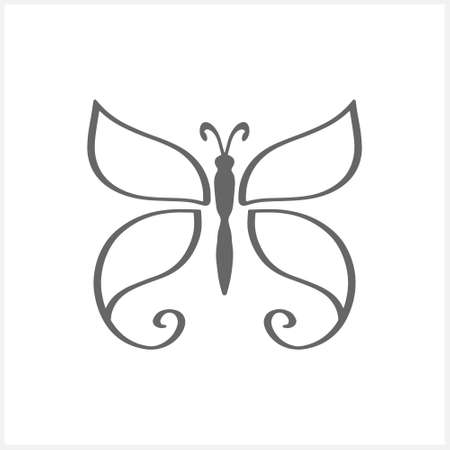 Doodle butterfly icon isolated on white. Hand drawn line art. Sketch animal. Coloring page book. Vector stock illustration. Illustration