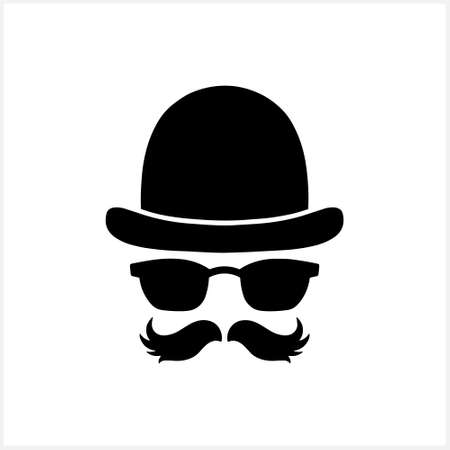 Hipster clipart isolated on white. Stencil vector stock illustration. EPS 10