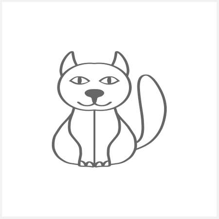 Doodle cat clipart isolated on white. Hand drawn art line. Sketch animal. Vector stock illustration. EPS 10 Illustration