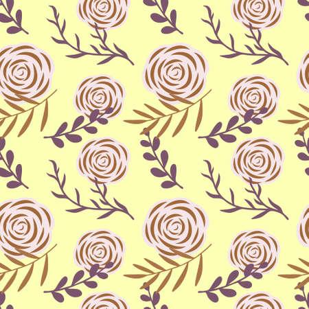 Cartoon rose seamless pattern. Hand drawn art. Flower vector stock illustration.