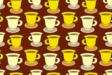 Doodle coffee cup seamless pattern. Cartoon vector stock illustration. Illustration
