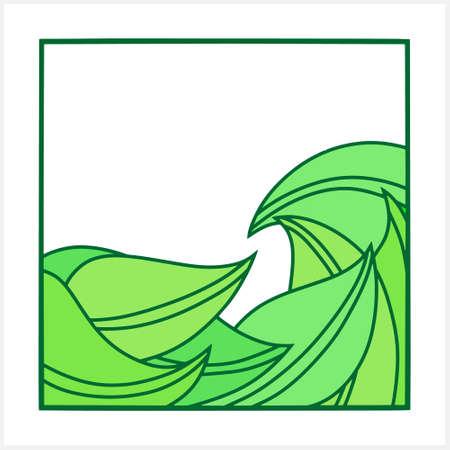 Frame with leaf isolated on white. Border for design. Vector stock illustration.