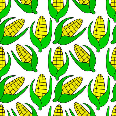 Doodle corn seamless pattern isolated on white. Vector stock illustration.