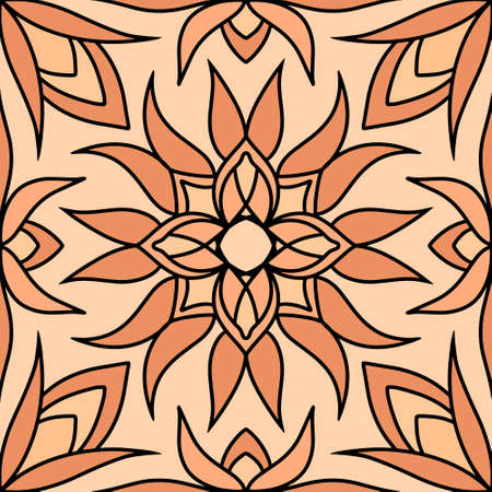 Vintage seamless pattern. Doodle hand drawn art line. Sketch vector stock illustration.