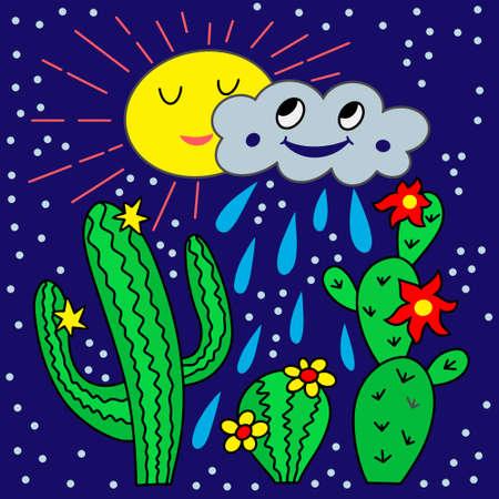Cartoon card with cactus, sun and rain. Vector stock illustration. EPS 10