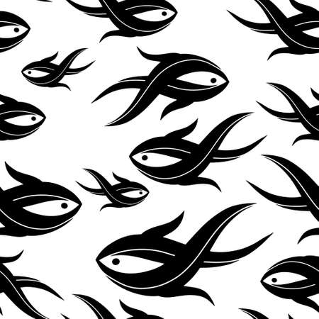 Summer seamless pattern with fish isolated on white. Stencil animal. Vector stock illustration. EPS 10
