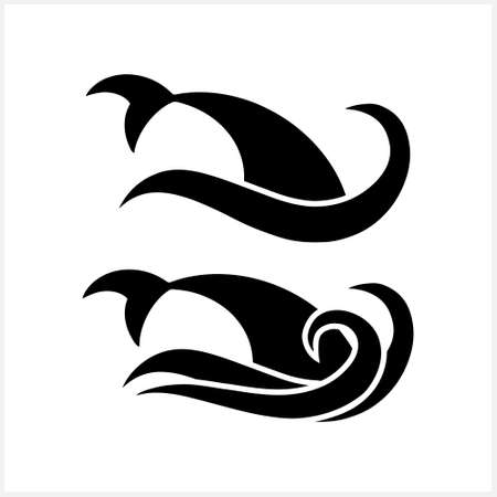 Summer icon with shark fin on wave isolated on white. Stencil fish. Animal vector stock illustration. EPS 10 Illustration
