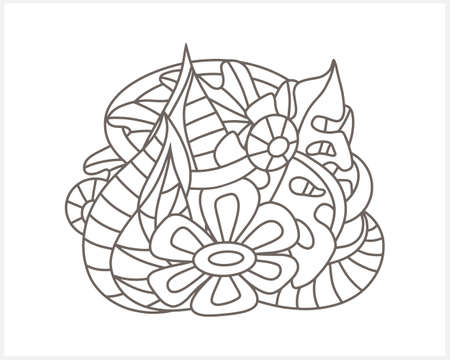 Doodle flower with leaves isolated on white. Coloring page book design. Sketch vector stock illustration. EPS 10