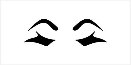 Doodle woman eye icon isolated on white. Stencil. Vector stock illustration. EPS 10