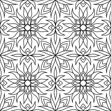 Floral seamless pattern isolated on white. Doodle hand drawn art line. Sketch vector stock illustration. EPS 10