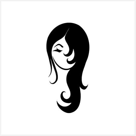 Doodle girl clipart isolated on white. Hand drawn art. Avatar people. Stencil vector stock illustration. EPS 10 Illustration