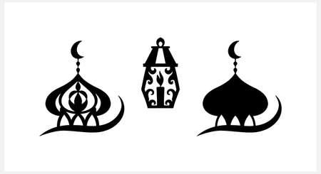 Eid Mubarak set clipart isolated on white. Stencil moon, masjid. Vector stock illustration. EPS 10 Illustration