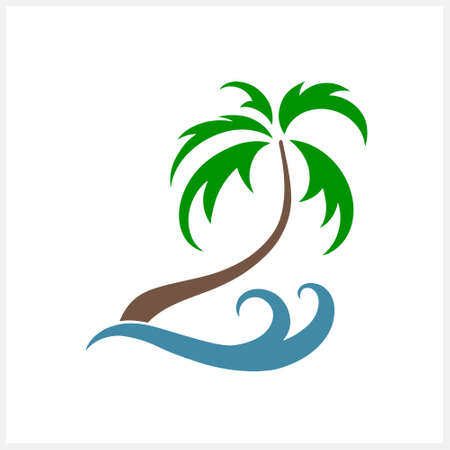 Palm tree with wave clipart isolated on white. Vector stock illustration. EPS 10