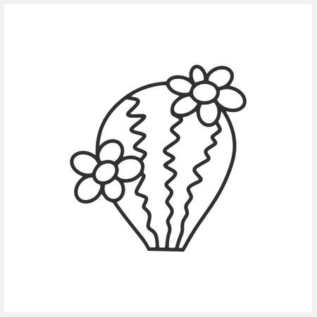 Doodle cactus icon isolated on white. Sketch clipart. Vector stock illustration. EPS 10