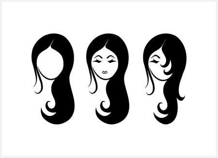 Doodle girl set clipart isolated on white. Hand drawn art. Avatar people. Stencil vector stock illustration. EPS 10