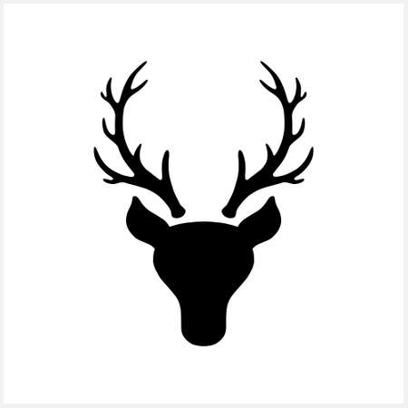 Antlers elk or deer icon isolated on white. Silhouette Christmas symbol. Xmas stencil. Vector stock illustration. EPS 10 Illustration