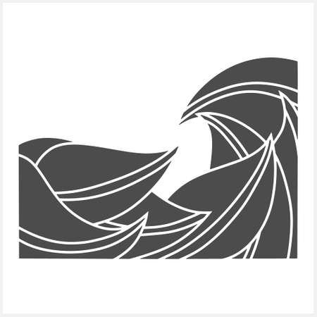 Wave with leaf isolated on white. Border for design. Vector stock illustration. EPS 10