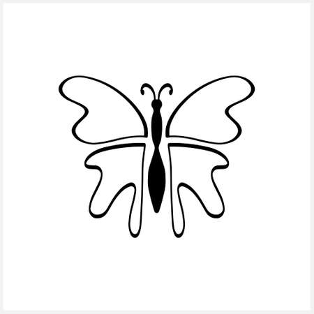 Doodle butterfly icon isolated on white. Hand drawn line art. Sketch animal. Coloring page book. Vector stock illustration. EPS 10