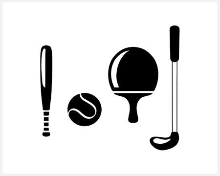 Stencil sports elements isolated on white. Clipart collection. Vector stock illustration. EPS 10