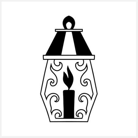 Islamic lantern clipart isolated on white. Stencil lamp. Vector stock illustration. EPS 10