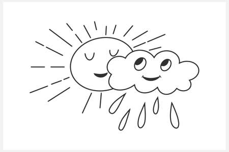 Doodle sun and cloud with rain clipart isolated on white. Hand drawn art line. Coloring book page. Sketch vector stock illustration. EPS 10