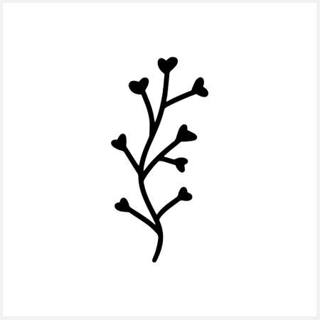 Doodle flower icon isolated on white. Hand drawn line art shepherds bag. Sketch flower vector stock illustration. EPS 10