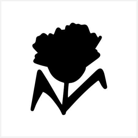 Doodle cornflowers iconisolated on white. Stencil flower. Natutal Vector stock illustration. EPS 10