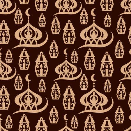 Eid Mubarak seamless pattern. Stencil moon, masjid. Vector stock illustration.
