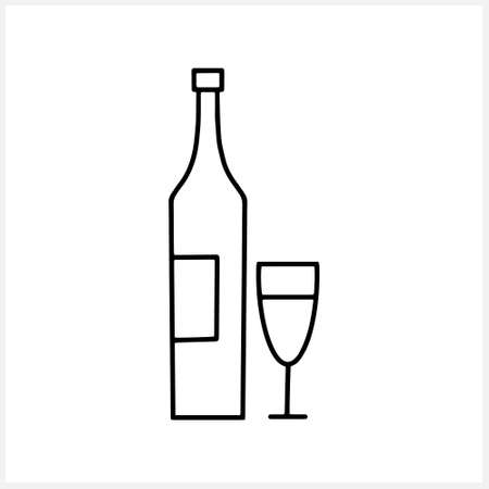 Bottle of wine and glass icon isolated on white. Sketch hand drawn art line. Drink vector stock illustration. EPS 10