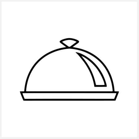 Restaurant dish icon isolated. Food delivery. Tray. Covered food. Sketch clipart. Vector stock illustration. EPS 10
