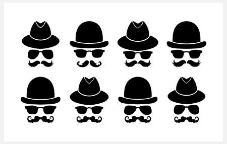 Hipster set clipart isolated on white. Stencil vector stock illustration.
