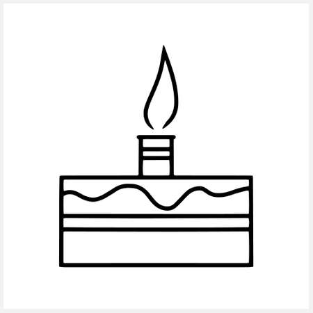 Sketch birthday cake icon isolated on. Doodle cake for birthday celebration with single candle. Vector stock illustration. EPS 10