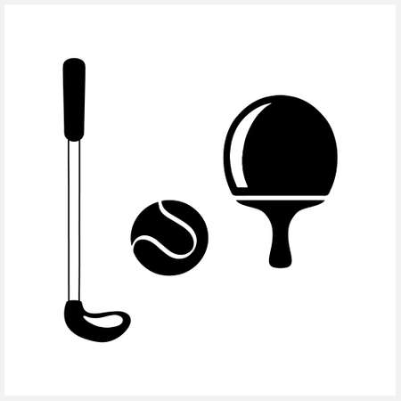 Stencil sports elements isolated on white. Clipart collection. Vector stock illustration.
