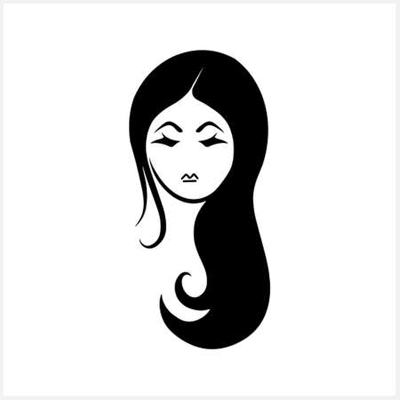 Doodle girl clipart isolated on white. Hand drawn art. Avatar people. Stencil vector stock illustration. Illustration