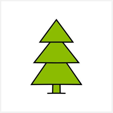 Christmas tree icon isolated on white. Xmas vector stock illustration. EPS 10 Illustration