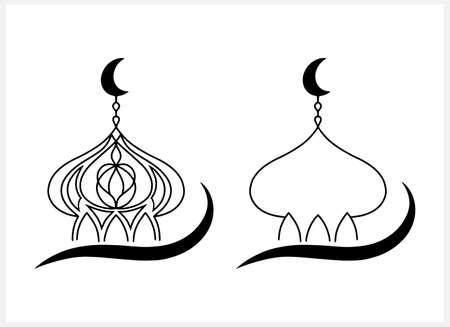 Eid Mubarak set clipart isolated on white. Sketch moon, masjid. Vector stock illustration. EPS 10