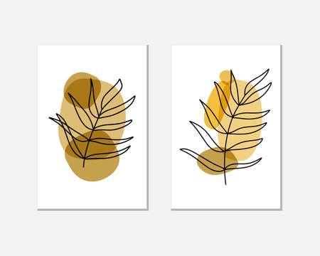 Abstract creative card with leaf paln and blots. Trendy clipart. Vector stock illustration. EPS 10