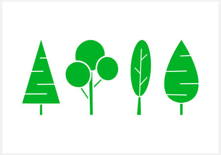 Tree set clipart isolated. Stencil icon. Vector stock illustration. EPS 10