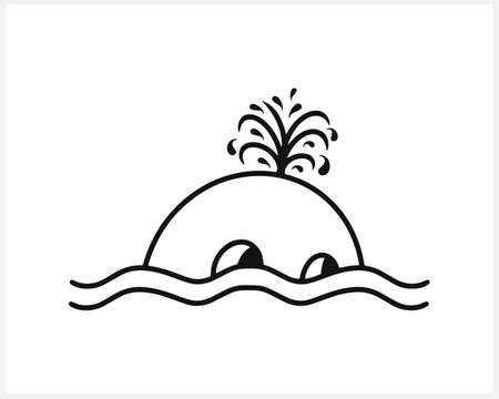 Summer icon with whale on wave isolated on white. Sketch fish. Animal vector stock illustration.