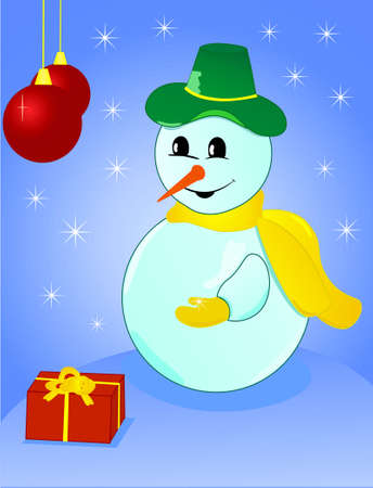 Vector illustration of a Christmas snowman with snowflake in his hand Vector