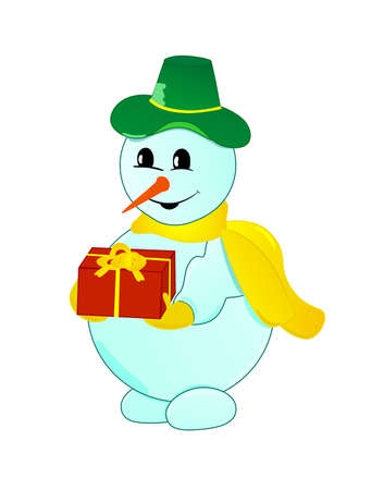 Christmas snowman with gift Vector