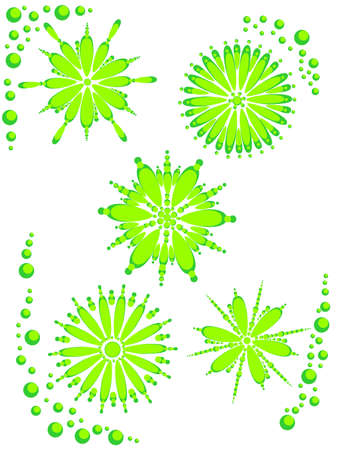 flowered: Vector illustration with stylized green flowers on a white background