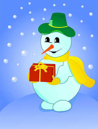 Vector illustration of a snowman in green hat with a gift on winter background Vector