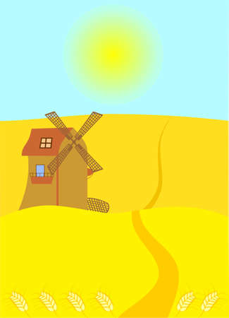 Sun background. Wheat field with windmill Vector