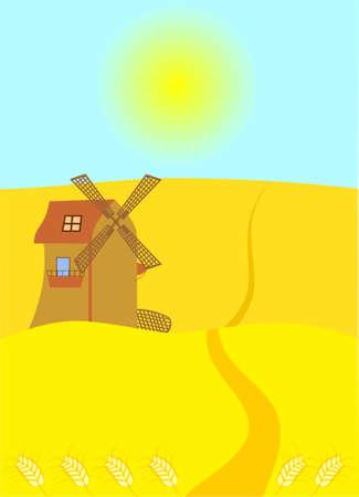 tillage: Sun background. Wheat field with windmill Illustration
