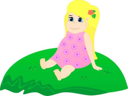 hillock: Ni�a emplazamiento en la colina cubierta de hierba. Baby so�ando y admirar