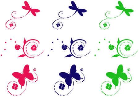 aerate: Tre naturali, ornamenti di fiori in vari colori