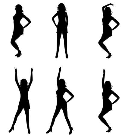 flexible woman: Isolated women silhouettes in various dancing moves