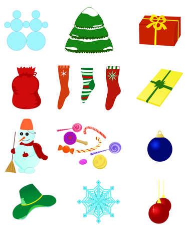 Set various Christmas illustrations. Vector isolated Vector